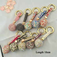 Rhinestone Leather Strap Crystal Ball Car Keychain Charm Pendant Key Ring Bling