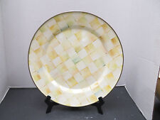 """New MacKenzie Child's PARCHMENT CHECK Enamel 12"""" Charger/Plate"""