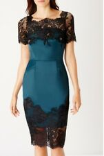 Bnwt🌹Coast🌹Size 8 Green,Black Helmi Duchess Satin Dress Wedding Cocktail New