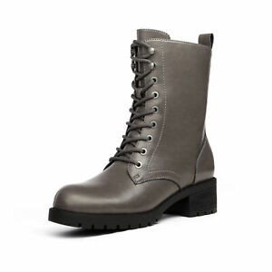 DREAM PAIRS Womens Lace-up Combat Boots Mid-calf Military Winter Boot Shoes Size