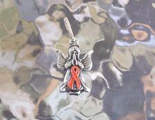 Leukemia or Appendix CANCER AWARENESS ORANGE ANGEL RIBBON PEWTER PENDANT All New