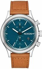Nixon Men's Station Chrono A11632535-00 41mm Green Dial Leather Watch
