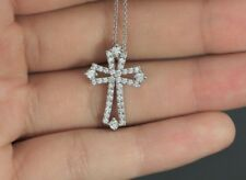 $2250 14K Solid White Gold .50ct Round Diamond Cross Pendant 16'' Chain Necklace