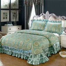 Green Super King Size Patchwork Quilted Bedspread Coverlet Blanket Luxury Lace