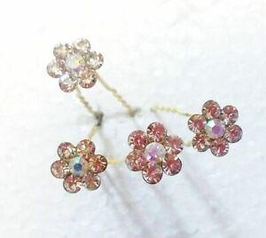 4pcs Indian Ethnic Wedding Goldplated Judha Flower Hair Pin Bridal Women Jewelry
