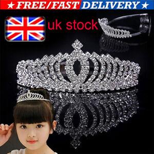 UK Girls Tiara Princess Crown Diamante Rhinestone Party Wedding Prom Headband
