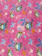BOBBY JACK MONKEY PINK BY DAVID TEXTILES FLEECE PRINTED FABRIC (1095) BY YARD