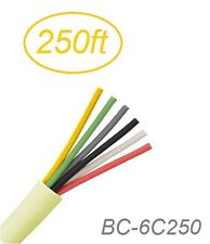 250ft 6-Conductor 24 AWG Solid Copper Wire Round Beige Station Bulk Cable