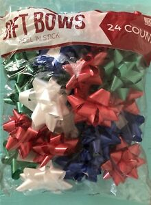 24 Count 4-Inch Peel N Stick Gift Wrap Bows Christmas Holiday Wrapping Presents