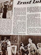 N1-2 Ephemera 1952 Article Director Film Ernst Lubitsch