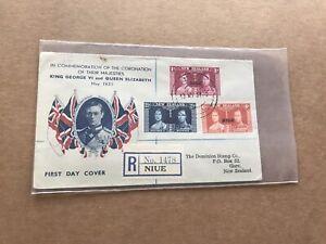 Niue /New Zealand 1937 Coronation FDC + Special Coronation Cachet +Neat