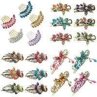 KQ_ AB_ EB_ HB- Women Retro Crystal Butterfly Flower Metal Chinese Hairpin Hair