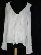 NWT Nicole Nicole Miller Pale Ivory Ruffled Sheer Blouse 14 Attached Liner NEW