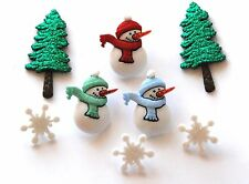 Have a Cool Yule / Jesse James Holiday Buttons # 2465 / Snowmen & Glitter Trees