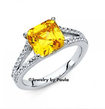 14k White Gold 2.5CT Huge CANARY Yellow Manmade Sapphire Diamond Ring Solitaire
