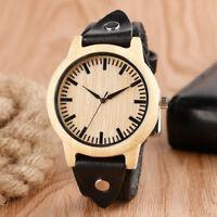 Cool Bamboo Nature Wood Leather Band Strap Women Men Quartz Wrist Watch Gift