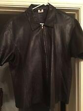 100% Authentic Krizia Men Black Leather Shirt 54