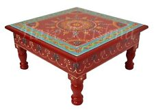 """Indian Hand Painted Pooja Small Side Table Wooden Mini Worship Chowki (Red) 11"""""""