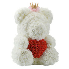 25Cm Teddy Bear With Crown In Gift Box Bear Of Roses Artificial Flower New  J9H6