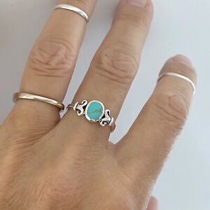 Sterling Silver Round Turquoise Ring with Swirly, Boho Ring, Silver Ring