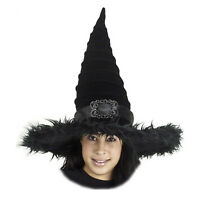 Adult Teen Women's Wicked Plush Furry Halloween Costume Buckle Pointed Witch Hat