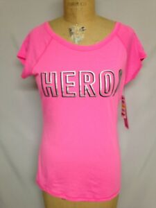 Ideology Womens BCRF Hero Graphic Short Sleeve T-Shirt 77898 Pink Medium NWT