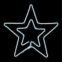 Neon White LED Double Star Outdoor Christmas Xmas Rope Light Decoration 54x50cm
