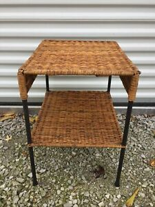 Calif-Asia/Carl Aubock Style Wrought Iron Rattan Side Table Mid Century Modern