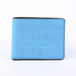 Burberry Blue Leather Bifold Wallet Men's
