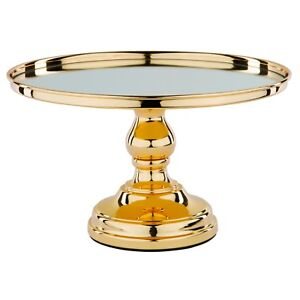 """Chrome Plated Mirror Top Cake Stand 12"""" (30cm) Round Metal Party Wedding Display"""