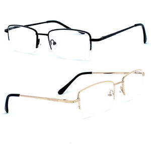 Mens Half Rimless Metal Reading Glasses Business Readers 1.0 1.5 2.0 2.5 3.0 3.5