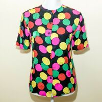 Vintage Carlisle Size 4 Blouse 100% Silk Blouse Short Sleeves Buttons Colorful