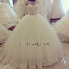 Romantic Scoop Lace Ball Gown Wedding Dresses Puffy Church Country Bridal Gowns