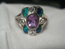 Silver Inlaid Opal & Amethyst Ring,  Size 8, Faux Stones, Bezel Set