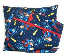 Super man Toddler Pillow and Pillowcase set on Blue Cotton #S5 New Handmade