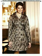 Womens Black & Gold Lace Evening Coat. Size 12