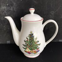 Cuthbertson American Christmas Tree coffeepot 6 Cup Red Rim  Mint Condition