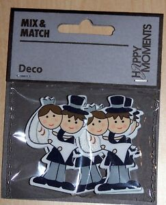 Wedding Couple - Wooden Embellishments, 4 pcs Ideal For Crafting.  Bride & Groom