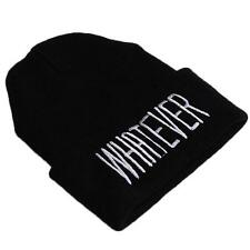 New Arrival Unisex Black Beanie Knitted Cap Hiphop Hat With Letter WHATEVER - 6A