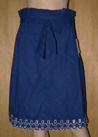NEW LADIES ROYEL BLUE LINEN MIX CUTWORK SKIRT FULLY LINED  SIZES 8 10 12 14 16