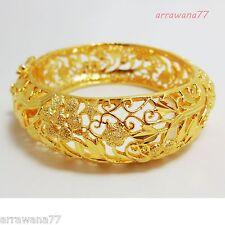 CARVE 22K 23K 24K THAI BAHT YELLOW  GOLD GP JEWELRY  BANGLE BRACELET BA22