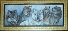 Framed Original Acrylic Painting 5 Wolves Dan Perotti Wildlife Art Michigan