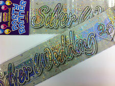 3 X 25TH SILVER WEDDING ANNIVERSARY WALL BANNERS