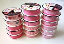 lot of 17pcs assorted pink ribbon, each 16mmx1M