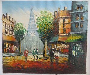 100% Handmade Eiffel Tower Landscape Canvas Oil Painting Samll Size Wall Deco