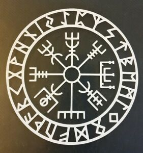 1x Viking Compass Vegvisir Celtic 5x5 Pagan Rune Car Van Vinyl Sticker White