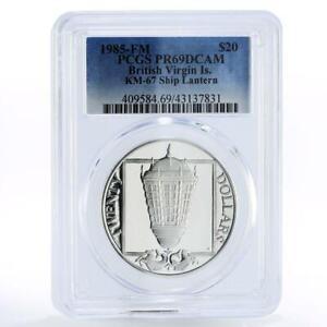 British Virgin Islands 20 dollars Ship Lantern PR69 PCGS proof silver coin 1985