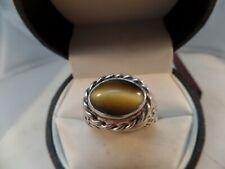 Cats Eye/Tiger Eye 925 Sterling Silver Ring Size 11.25 # S 1610