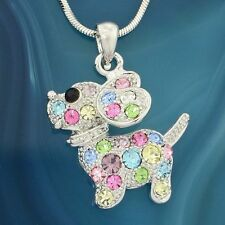 DOG Made With Swarovski Crystal Multi Colored Beagle Puppy Pet Pendant Necklace