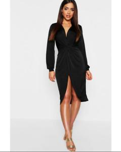 Boohoo Dress Ladies Black Tall Disco Twist Front Z1